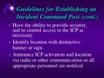 guidelines for establishing an incident command post cont