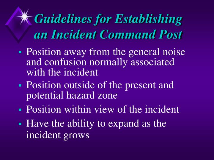 Guidelines for Establishing an Incident Command Post