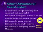 primary characteristics of incident helibase