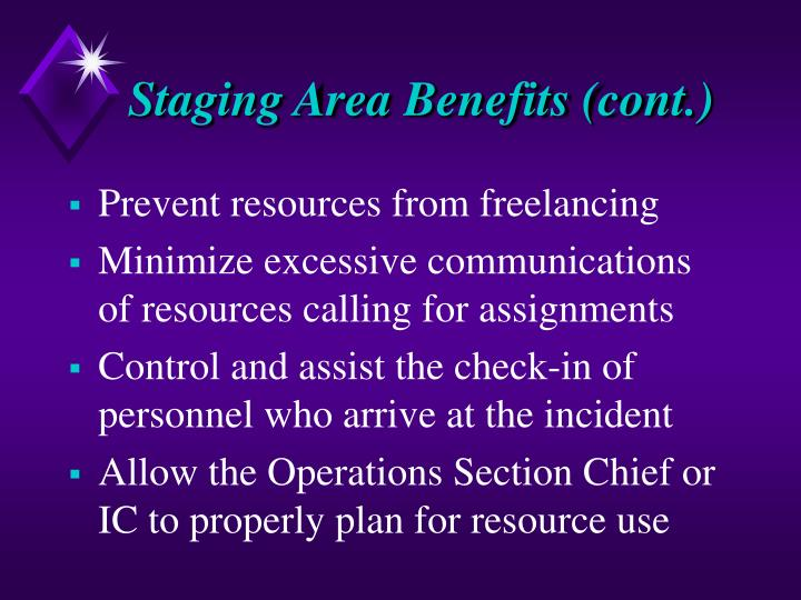 Staging Area Benefits (cont.)