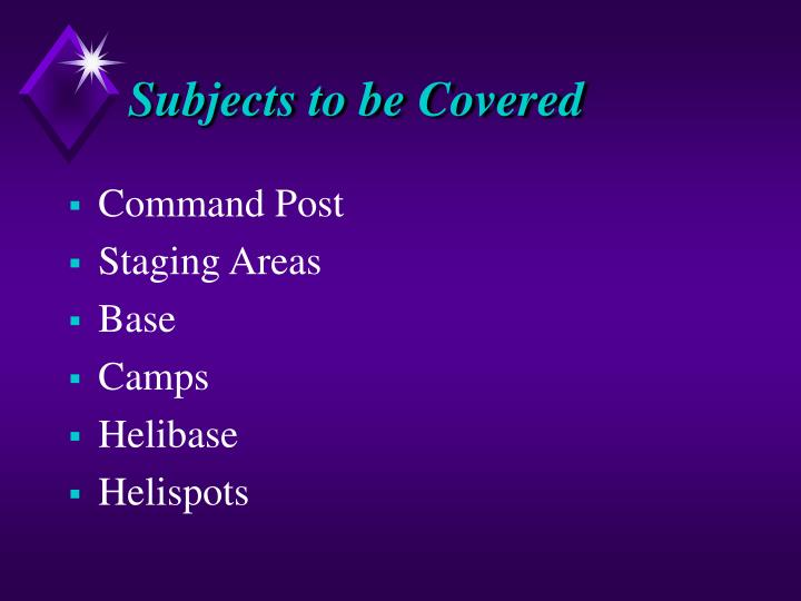 Subjects to be Covered