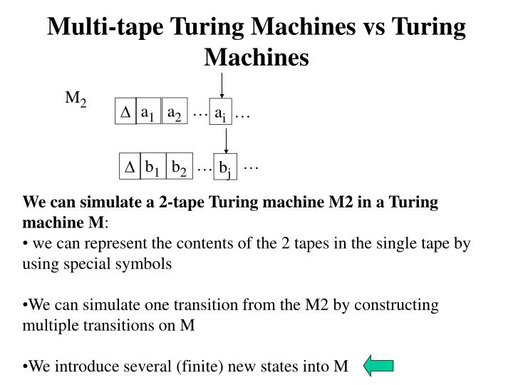 Multi-tape Turing Machines vs Turing Machines