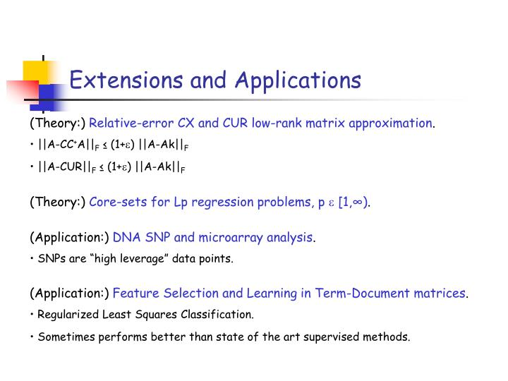 Extensions and Applications