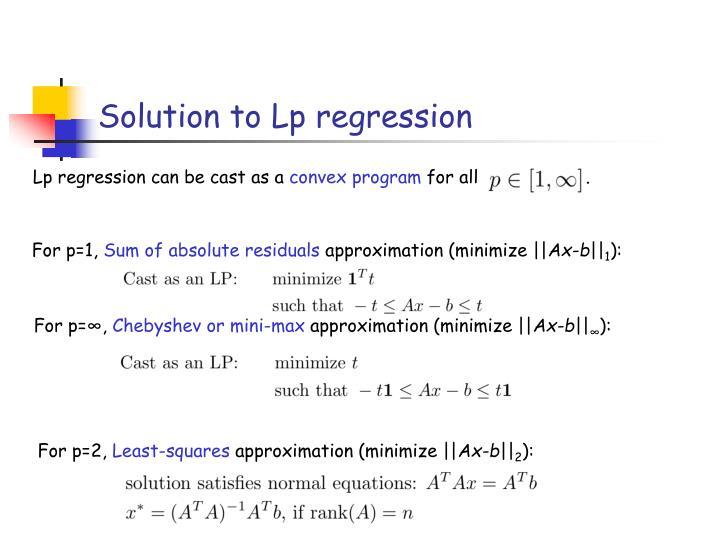 Solution to Lp regression
