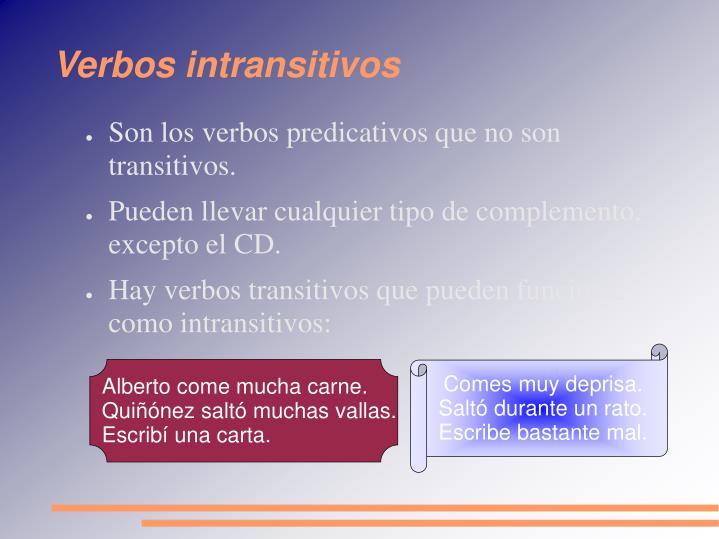 Verbos intransitivos
