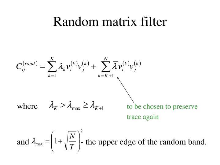 Random matrix filter