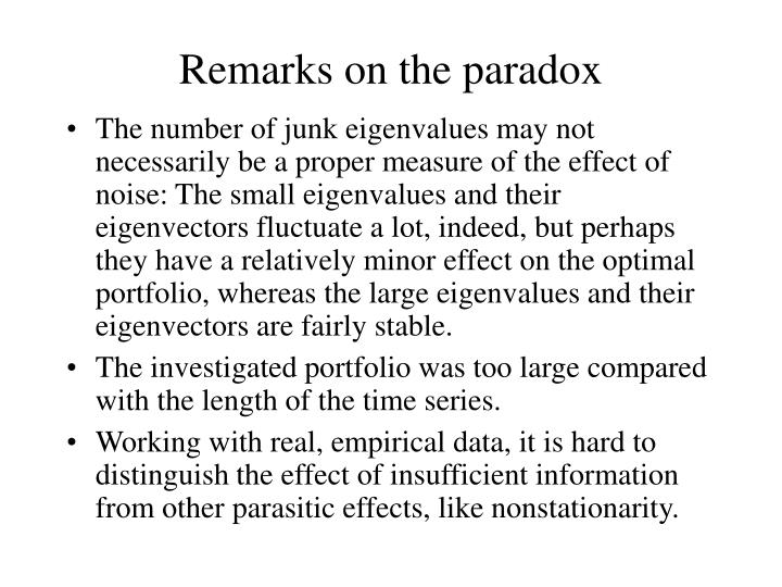 Remarks on the paradox