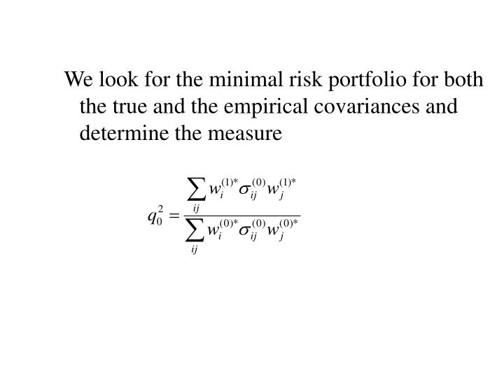 We look for the minimal risk portfolio for both the true and the empirical covariances and determine the measure