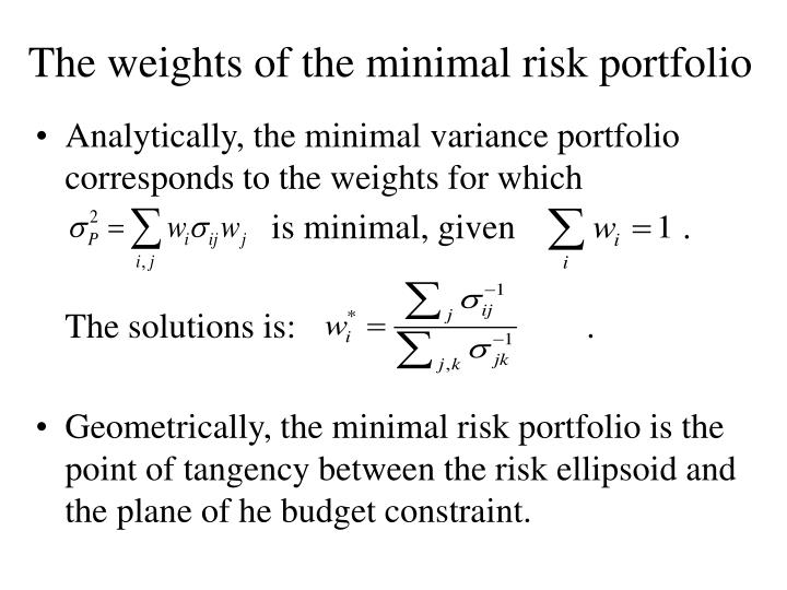 The weights of the minimal risk portfolio