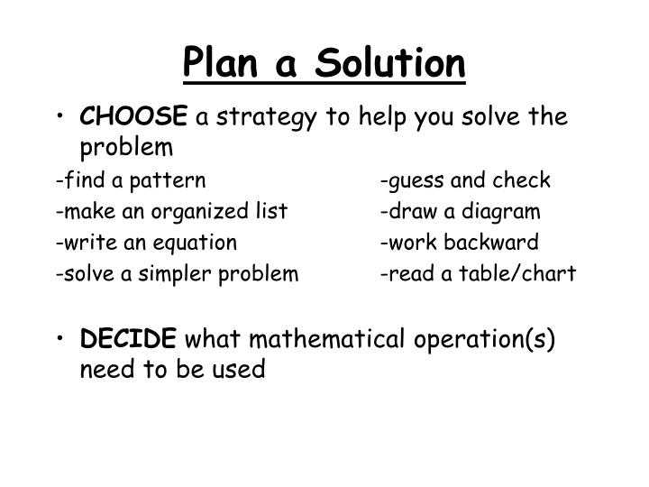 Plan a Solution
