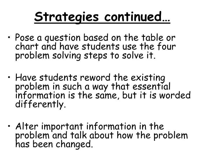 Strategies continued…