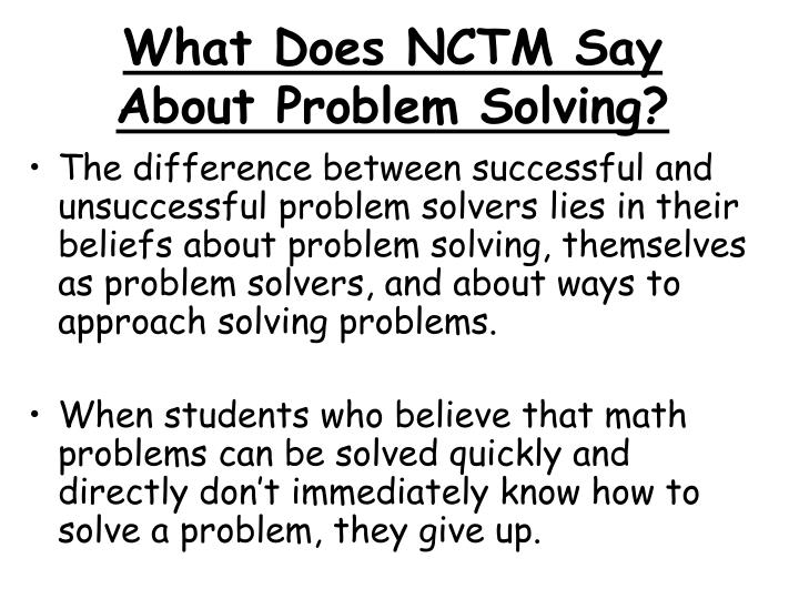 What Does NCTM Say About Problem Solving?