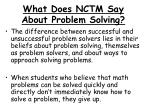what does nctm say about problem solving