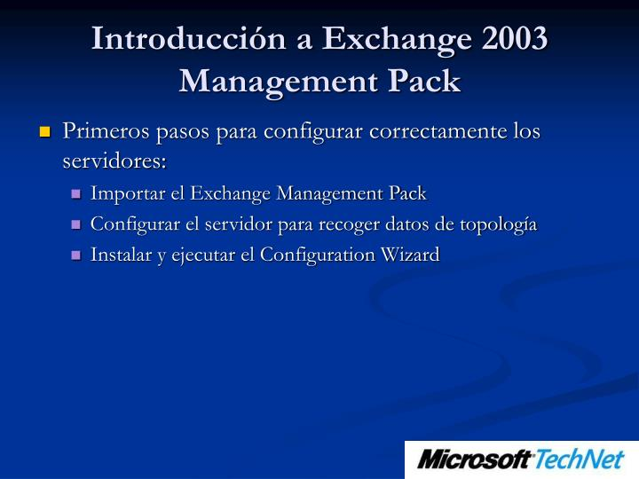 Introducción a Exchange 2003 Management Pack