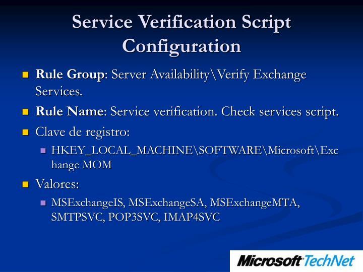 Service Verification Script Configuration