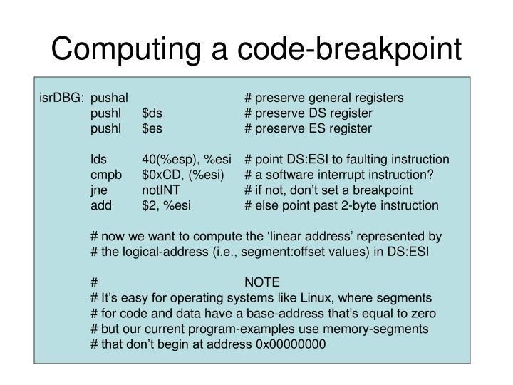 Computing a code-breakpoint