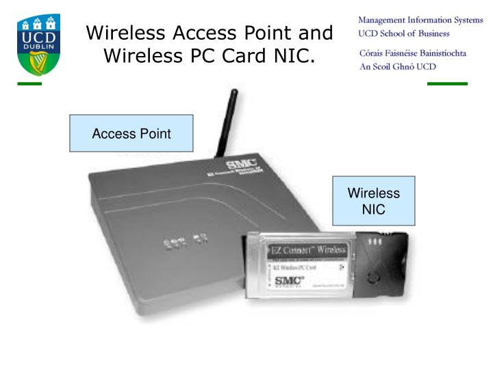 Wireless Access Point and Wireless PC Card NIC.