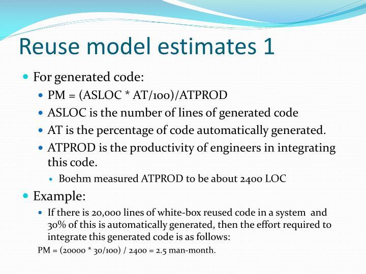 Reuse model estimates 1