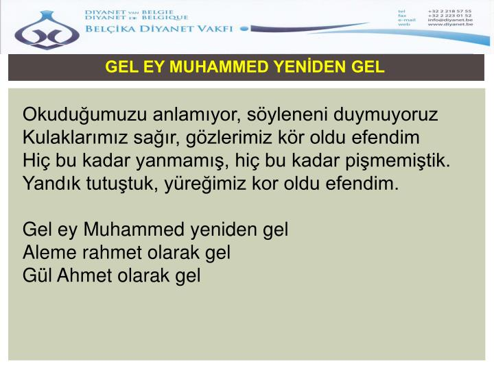 GEL EY MUHAMMED YENİDEN GEL