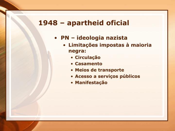 1948 – apartheid oficial