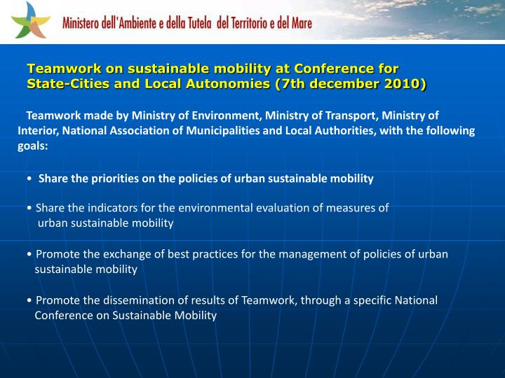 Teamwork on sustainable mobility at Conference for State-Cities and Local Autonomies (7th december 2010)