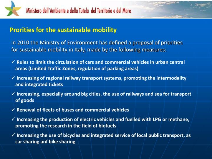 Prorities for the sustainable mobility