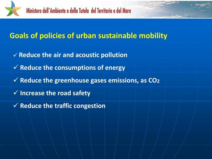 Goals of policies of urban sustainable mobility