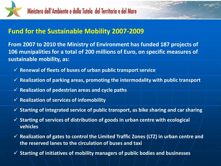 Fund for the Sustainable Mobility 2007-2009
