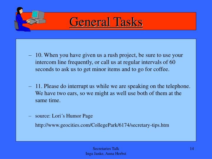 General Tasks