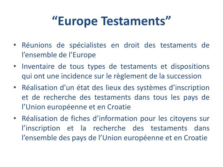 """Europe Testaments"""