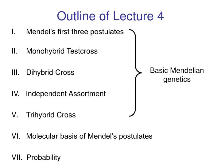 Outline of Lecture 4