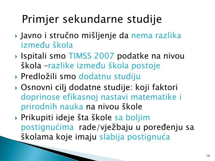 Primjer sekundarne studije