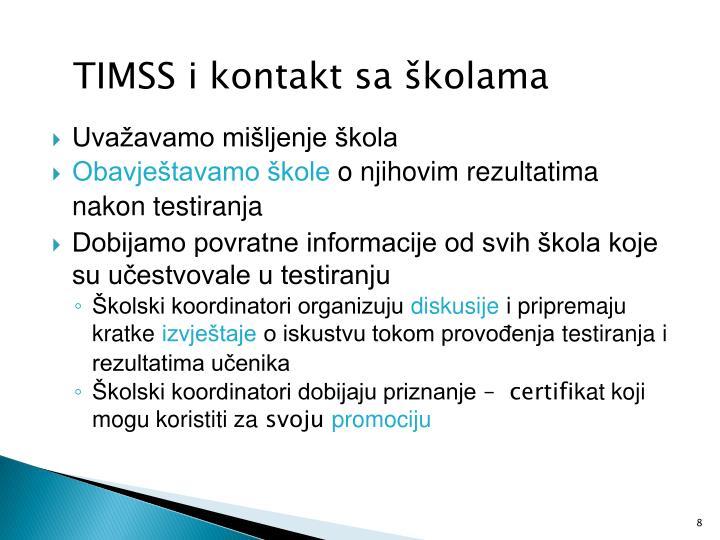 TIMSS i kontakt sa školama