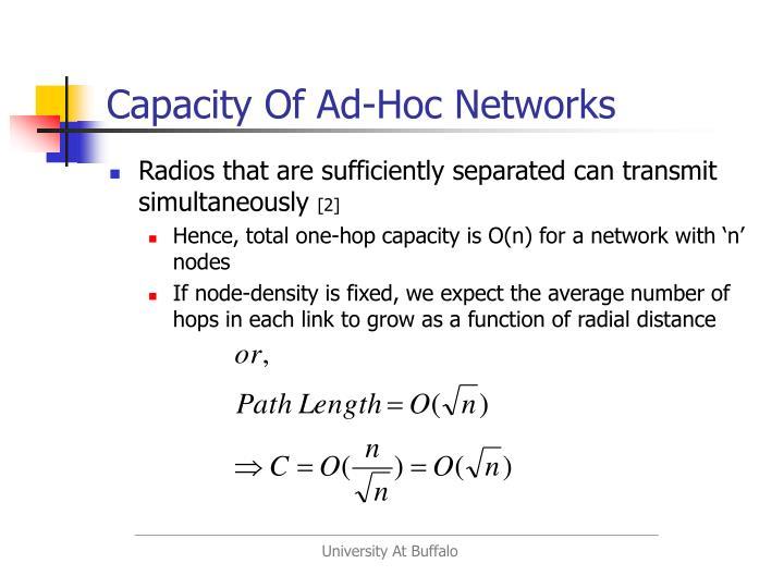Capacity Of Ad-Hoc Networks