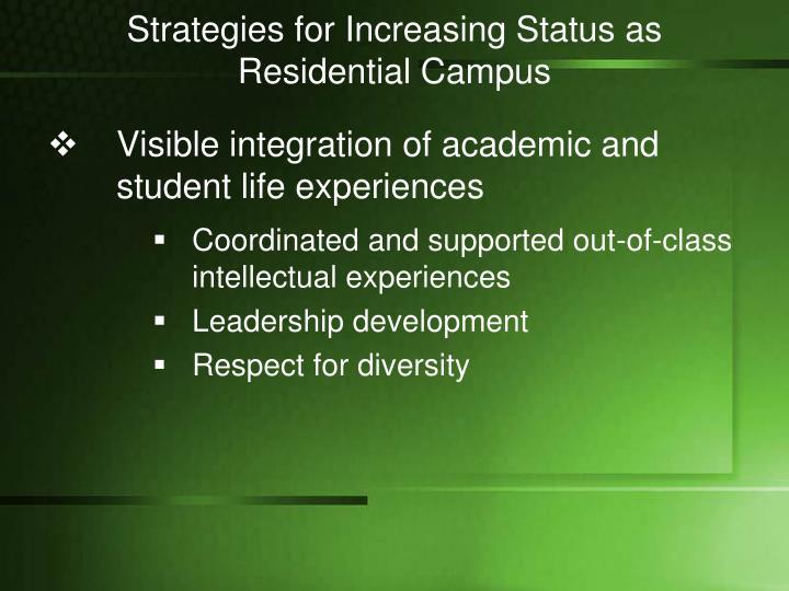 Strategies for Increasing Status as Residential Campus