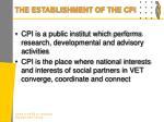 the establishment of the cpi1