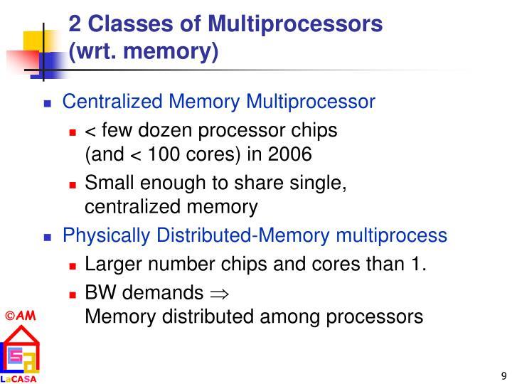 2 Classes of Multiprocessors