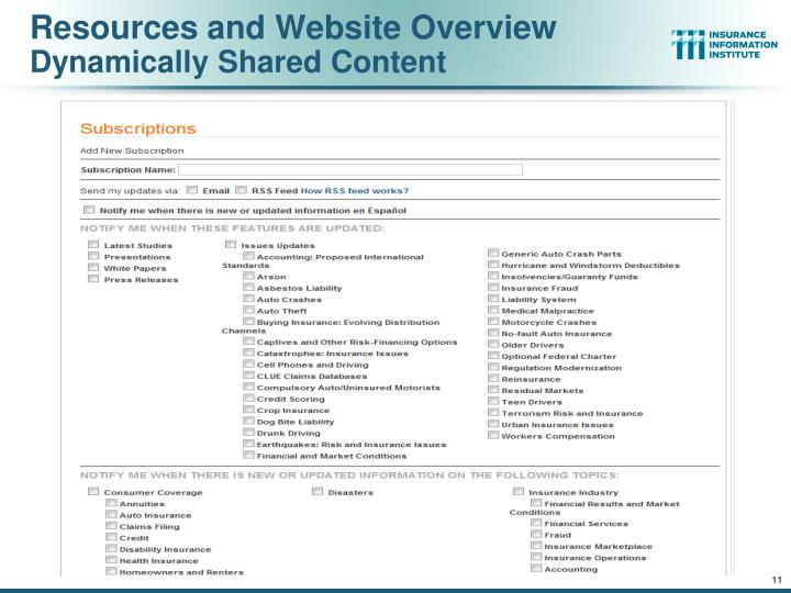 Resources and Website Overview