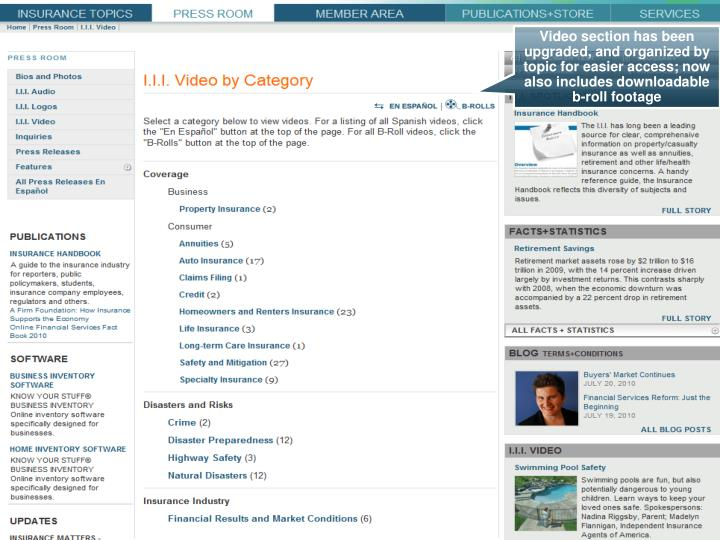 Video section has been upgraded, and organized by topic for easier access; now also includes downloadable b-roll footage