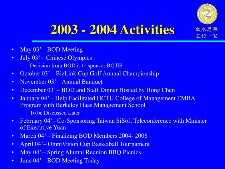 2003 - 2004 Activities