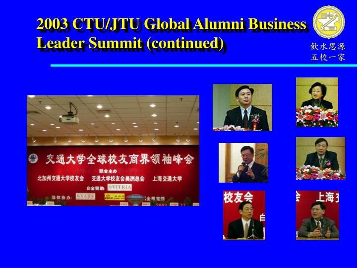 2003 CTU/JTU Global Alumni Business Leader Summit (continued)