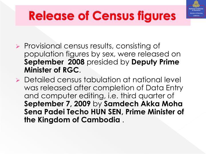 Release of Census figures