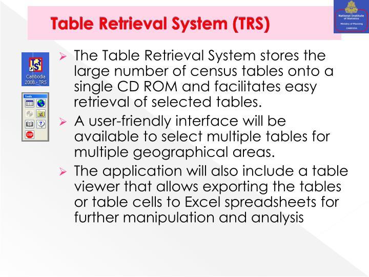 Table Retrieval System (TRS)