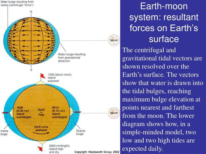 Earth-moon system: resultant forces on Earth's surface