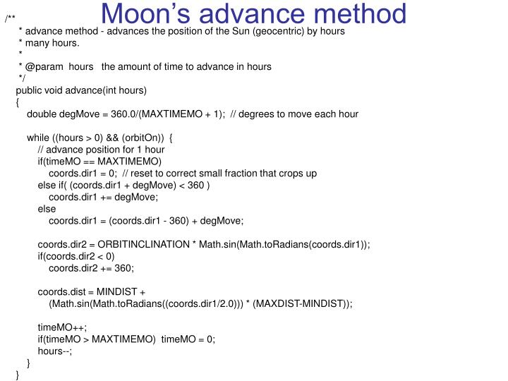 Moon's advance method