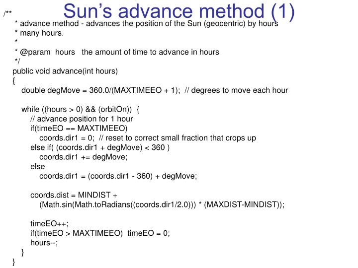 Sun's advance method (1)