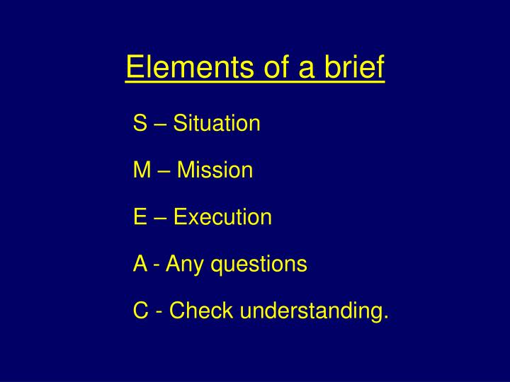 Elements of a brief