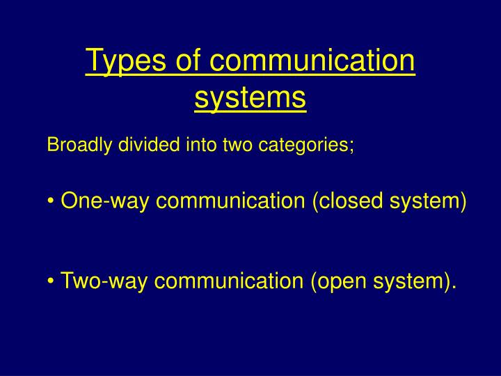 Types of communication systems