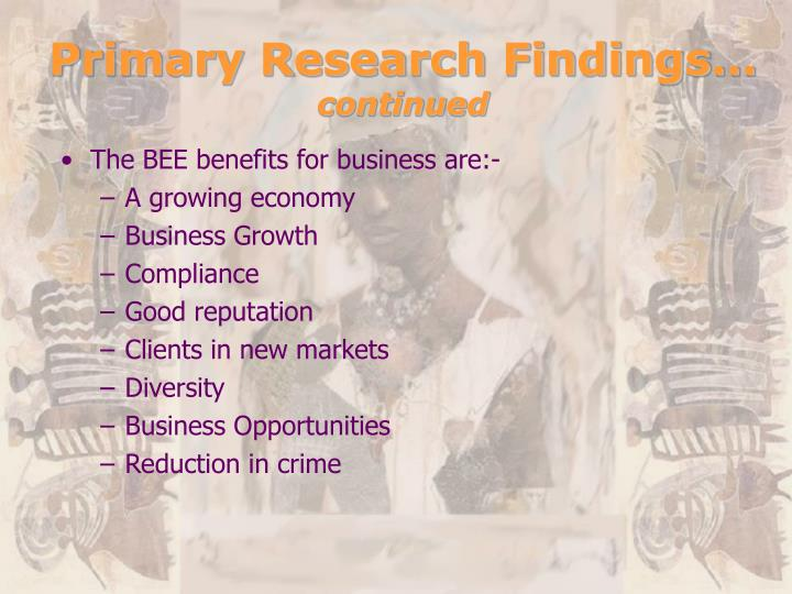 Primary Research Findings…