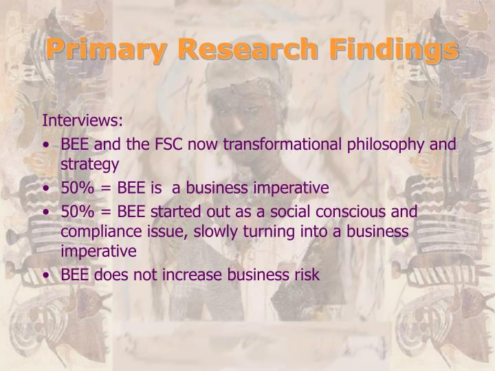 Primary Research Findings